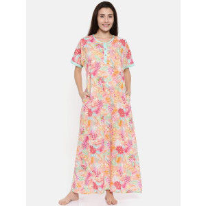 Buy The Kaftan Company Peach Floral Sleepwear - Multi-Color  - Nykaa