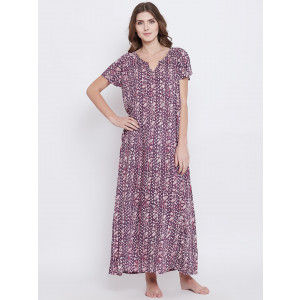 Buy The Kaftan Company Purple Pansy Nighty - Purple - Nykaa