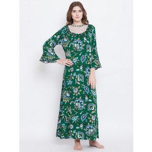Buy Herbal The Kaftan Company Abstract Flower Printed Nightdress - Green - Nykaa