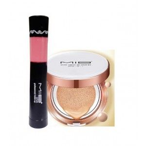 Buy MIB Silky Touch BB Cushion SPF 30 - No. 3 + USA 2 In 1 Matte Lipstick & Lip Gloss - Peach - Nykaa