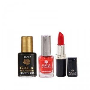 Buy Gala of London Lipstick - Hot Red E12 + Gel Nail Polish - G1 Red Chilli + FreeLiquid Eye Liner (8ml) - Nykaa