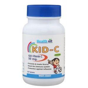 Buy HealthVit Kid-C  Kid's Vitamin C Chewable 50mg (60 Caps) - Nykaa