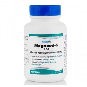 Buy Healthvit Magneed-G 100 Chelated Magnesium Glycinate 100mg 60 Capsules - Nykaa
