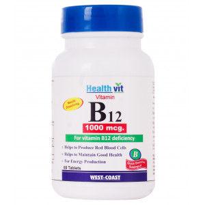 Buy HealthVit Vitamin B12 Methylcobalmin 1000Mcg 60 Tablets - Nykaa