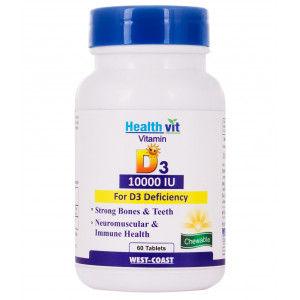 Buy HealthVit Vitamin D3 10000 Iu Maximum Strength 60 Tablets - Nykaa