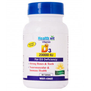 Buy HealthVit Vitamin D3 20000 Iu Maximum Strength 60 Tablets - Nykaa