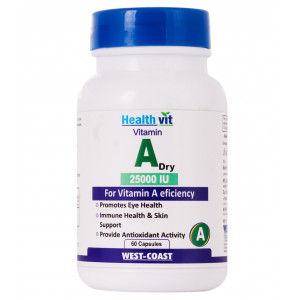 Buy HealthVit Vitamin A Dry 25000 IU 60 Capsules - Nykaa