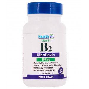 Buy HealthVit Vitamin B2 Riboflavin 100 Mg 60 Tablets - Nykaa