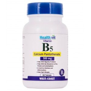 Buy HealthVit Vitamin B5 (Calcium Pantothenate) 500Mg 60 Tablets - Nykaa