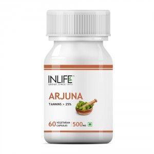 Buy INLIFE Natural Arjuna Extract 500mg, 60 Veg Capsules For Cardiac & Brain Health - Nykaa
