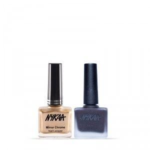 Buy Nykaa Matte Nail Enamel - Black Cherry Pie + MirrorChromeNail Lacquer - Sun-kissed Gold Comb - Nykaa