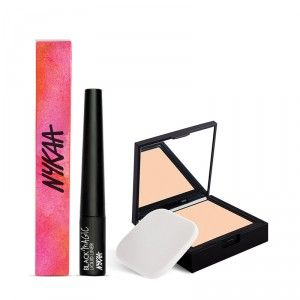 Buy Nykaa SKINgenius Skin Perfecting & Hydrating Compact - Natural Ivory 01 + Nykaa Black Magic Liquid Eyeliner - Super Black 01 Combo - Nykaa