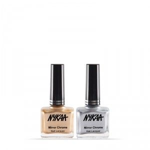 Buy Nykaa Mirror Chrome Nail Lacquer - Sun-kissed Gold &  Molten Sterling Combo - Nykaa