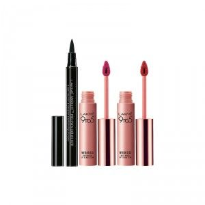 Buy Lakme 9 to 5 Weightless Matte Mousse Lip & Cheek Color - Fuchsia Suede + Crimson Silk + Free Absolute Precision Liquid Liner - Full Size Tester - Nykaa