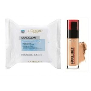 Buy L'Oreal Paris Infallible 24h Foundation - 120 Vanilla + Free Ideal Skin Makeup Removing Towelettes - Nykaa