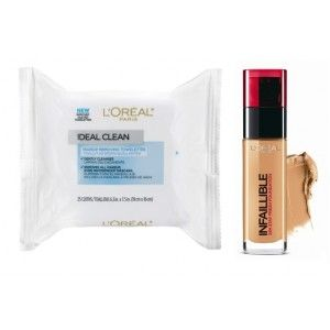 Buy L'Oreal Paris Infallible 24h Foundation - 150 Radiant Beige + Free Ideal Skin Makeup Removing Towelettes - Nykaa