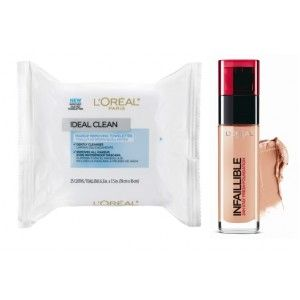 Buy L'Oreal Paris Infallible 24h Foundation - 220 Sand + Free Ideal Skin Makeup Removing Towelettes - Nykaa