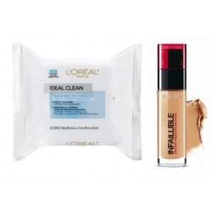 Buy L'Oreal Paris Infallible 24h Foundation - 320 Caramel Toffee + Free Ideal Skin Makeup Removing Towelettes - Nykaa