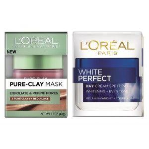 Buy L'Oreal Paris Pure Clay Mask Exfoliate & Refine Pores + White Perfect Day Cream - Nykaa