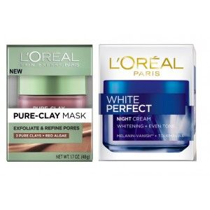 Buy L'Oreal Paris Pure Clay Mask Exfoliate & Refine Pores + White Perfect Night Cream - Nykaa