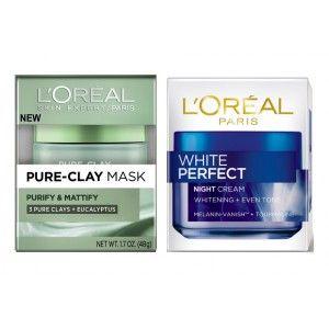 Buy L'Oreal Paris Pure Clay Mask Purify & Mattify + White Perfect Night Cream - Nykaa