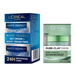 Buy L'Oreal Paris Pure Clay Mask Purify & Mattify + White Perfect Day + Night Cream Combo Pack - Nykaa
