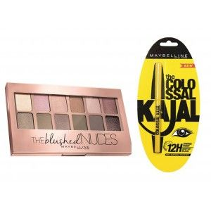 Buy Maybelline New York The Blushed Nudes Palette + Free Colossal Kajal - Nykaa