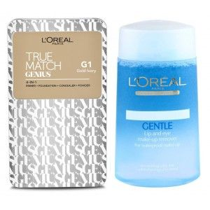 Buy Buy L'Oreal Paris True Match Genius 4-In-1 Compact Foundation - Gold Ivory G1 & Get Lip And Eye Make-Up Remover Free - Nykaa