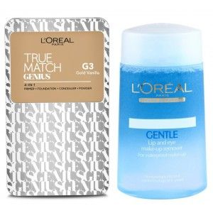 Buy Buy L'Oreal Paris True Match Genius 4-In-1 Compact Foundation - Gold Vanilla G3 & Get Lip And Eye Make-Up Remover Free - Nykaa