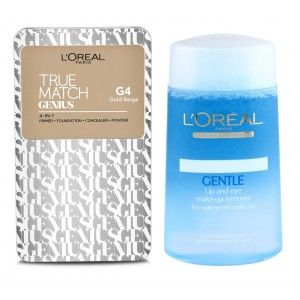 Buy Buy L'Oreal Paris True Match Genius 4-In-1 Compact Foundation - Gold Beige G4 & Get Lip And Eye Make-Up Remover Free - Nykaa