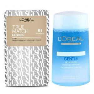 Buy Buy L'Oreal Paris True Match Genius 4-In-1 Compact Foundation - Rose Ivory R1 & Get Lip And Eye Make-Up Remover Free - Nykaa