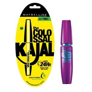 Buy Maybelline New York Volum' Express Falsies Mascara - Waterproof  + Free Colossal Kajal 24HR - Nykaa