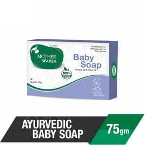 Buy Mother Sparsh Ayurvedic Almond & Olive Oil Baby Soap - Nykaa