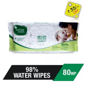Buy Mother Sparsh Baby Water Wipes 80 Usable Wipes (Rs.35 Off) - Nykaa