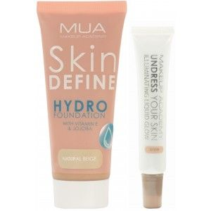 Buy MUA Skin Define Hydro Foundation - Natural Beige +  Undress Your Skin Illuminating Liquid Glow - Oyster - Nykaa