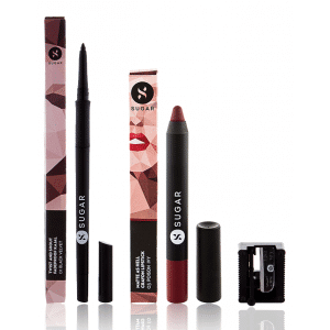 Buy SUGAR Twist And Shout Fadeproof Kajal + Matte As Hell Crayon Lipstick - 03 Poison Ivy (Wine) Value Set - Nykaa