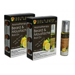 Buy Soulflower Aromatherapy Beard & Moustache Roll On - Pack Of 2 - Nykaa