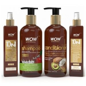 Buy WOW 10 in 1 Miracle Hair Oil + Apple Cider Shampoo + Hair Conditioner + Miracle 10 in 1 Hair Revitalizer - Nykaa