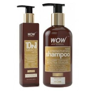 Buy WOW 10 in 1 Miracle Hair Oil + Organics Hair Strengthening Shampoo Free Paraben Sulphate - Nykaa