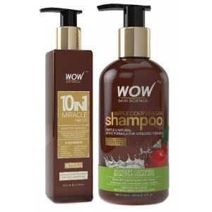 Buy WOW 10 in 1 Miracle Hair Oil + Skin Science Apple Cider Vinegar Shampoo Free Paraben Sulphate - Nykaa