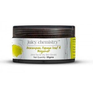 Buy Juicy Chemistry Aavarampoo, Papaya Leaf & Bergamot Face Scrub (For Oily Skin) - Nykaa