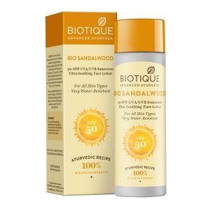 Buy Biotique Bio Sandalwood Ultra Soothing Face Lotion 50+ SPF UVA/UVB - Nykaa