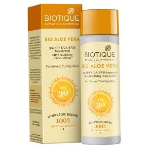 Buy Biotique Aloe Vera Ultra Soothing Face Lotion SPF 30 UVA/UVB Sunscreen - Nykaa