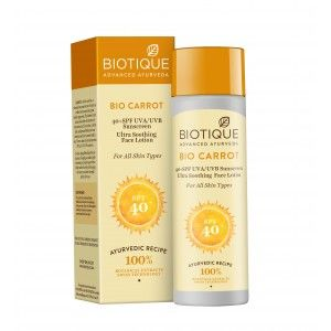 Buy Biotique Bio Carrot Ultra Soothing Face Lotion 40+ SPF UVA/UVB Sunscreen - Nykaa