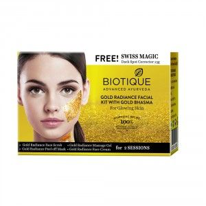 Buy Biotique Gold Radiance With Gold Bhasma Facial Kit With Free Swiss Magic - Nykaa