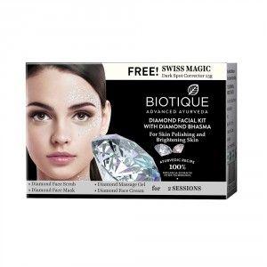 Buy Biotique Diamond Facial Kit With Diamond Free Swiss Magic Dark Spot Corrector - Nykaa