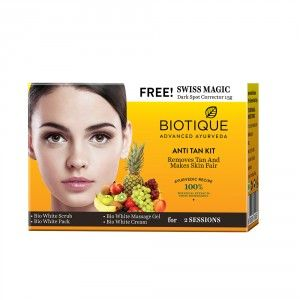 Buy Biotique Anti Tan Facial Kit + Free Swiss Magic Dark Spot Corrector - Nykaa