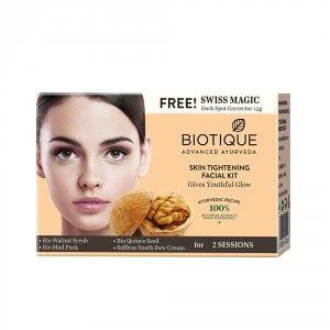 Buy Biotique Skin Tightening Facial Kit With Free Swiss Masic Dark Spot Corrector 15gm - Nykaa