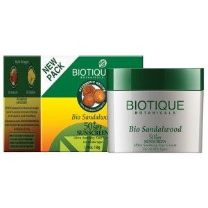 Buy Biotique Bio Sandalwood Ultra Soothing Face Cream SPF 50 UVA/UVB Sunscreen - Nykaa