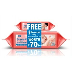 Buy Johnson's Baby Skincare Wipes 80s + Free Johnson baby Skincare Wipes 20s worth 70/- - Nykaa